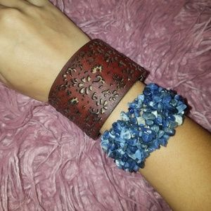AEO leather floral cuff and blue stone bracelet
